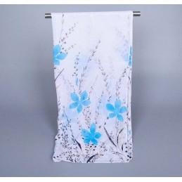 Foulard Multicolore Imprimé Mousseline Blanc et Bleu