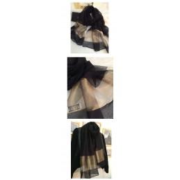 Foulard écharpe châle étole 100% soie silk noir