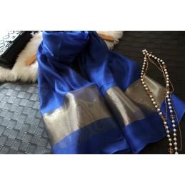 Foulard écharpe châle étole 100% soie bleu saphir