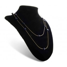 Long Collier orné de cristaux bleu anthracite