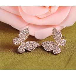 Boucles d'Oreilles Puces Papillons Cristal Couleur Champagne