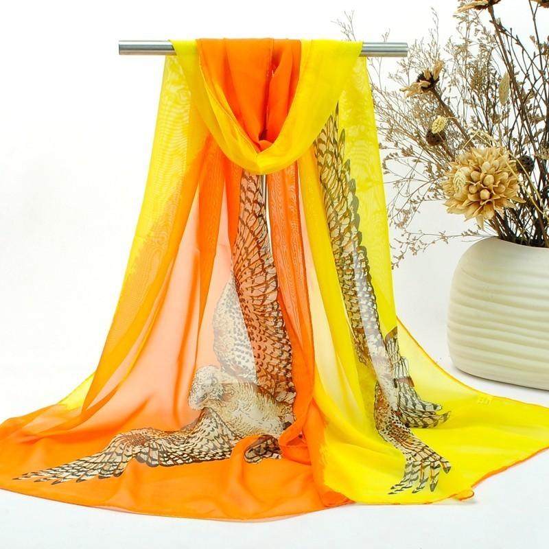 Foulard Femme Echarpe Etole Scarf Mousseline Chouette Deux tons Orange Jaune